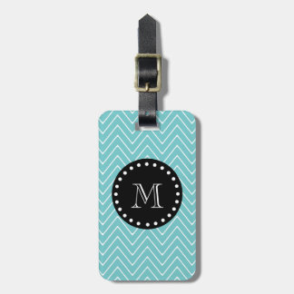 Teal Chevron Pattern | Black Monogram Luggage Tag