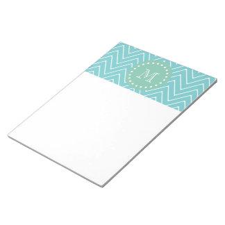 Teal Chevron Pattern | Mint Green Monogram Notepad