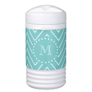 Teal Chevron Pattern | Teal Monogram Drinks Cooler