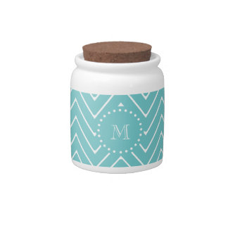 Teal Chevron Pattern | Teal Monogram Candy Dishes