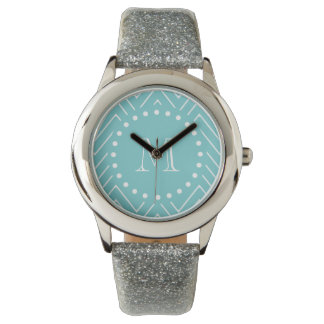 Teal Chevron Pattern | Teal Monogram Wrist Watch