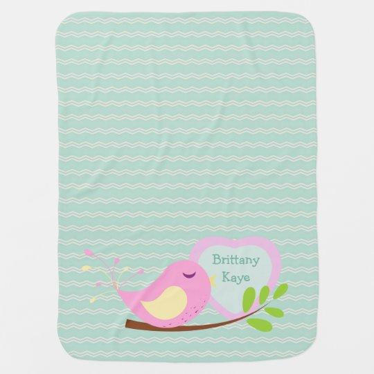 Teal Chevron Pink Bird Personalised Baby Blanket