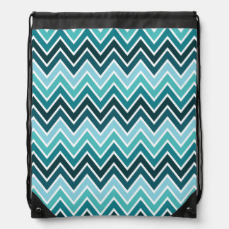 Teal Chevron Stripe Drawstring Bag