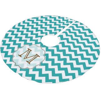 Teal Chevron Stripe Monogram Initial Tree Skirt Brushed Polyester Tree Skirt
