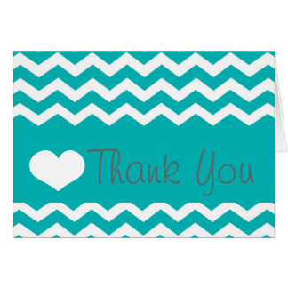 Teal Chevron Thank You Note Card