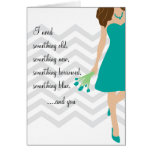 Teal Chevron Will You Be My Bridesmaid Greeting Card