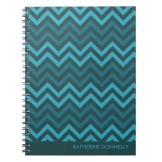 Teal Chevrons Zigzag Designer Journal/Notebook