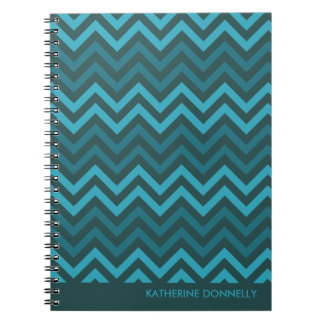 Teal Chevrons Zigzag Designer Journal/Notebook Spiral Notebook