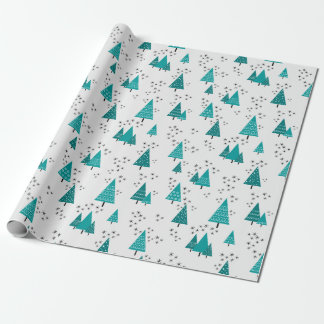 Teal Christmas Trees Snowflakes Wrapping Paper