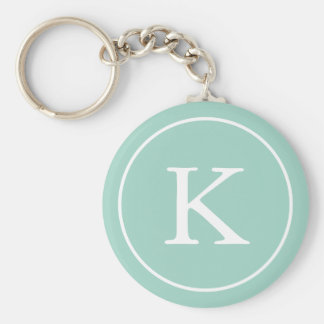 Teal Circle | Monogram Initial Key Ring