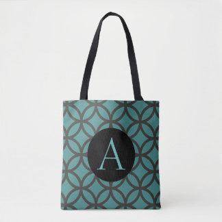 Teal Circle Pattern Tote Bag