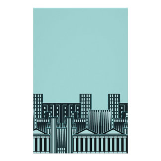 Teal Cityscape Stationery Paper Concrete Jungle