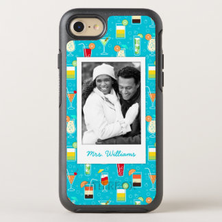 Teal Cocktail Pattern | Add Your Photo OtterBox Symmetry iPhone 7 Case