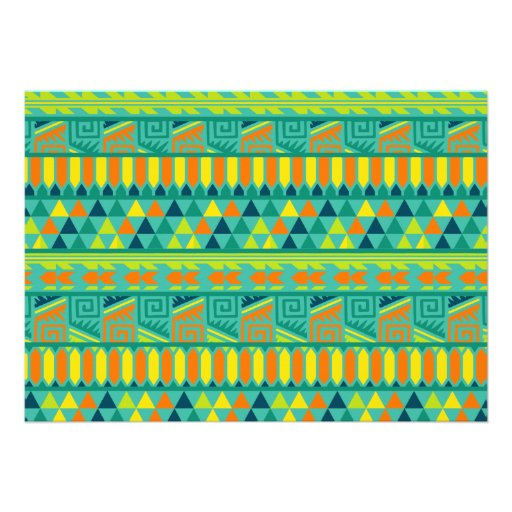 Teal Colorful Abstract Aztec Tribal Print Pattern Invitations