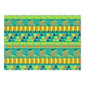 """Teal Colorful Abstract Aztec Tribal Print Pattern 5"""" X 7"""" Invitation Card"""