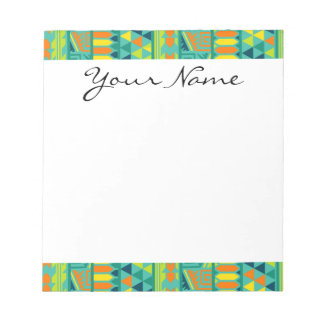 Teal Colorful Abstract Aztec Tribal Print Pattern Notepad