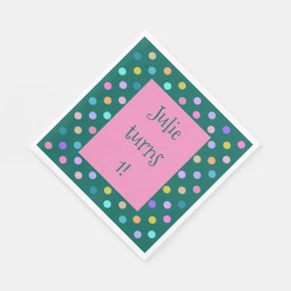 Teal colorful confetti dots custom paper napkins