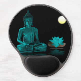 Teal Colour Buddha Meditating at Night Mousepad Gel Mouse Mat