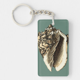 Teal Conch Shell Key Ring