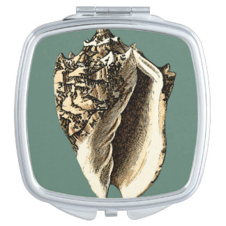 Teal Conch Shell Makeup Mirror