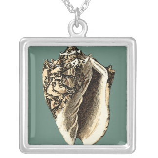 Teal Conch Shell Silver Plated Necklace