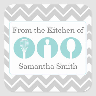 Teal Cooking Utensils Trio Kitchen Labels Square Sticker