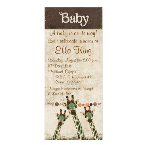 Teal & Copper  Giraffes Baby Invitation