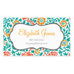 Teal Coral and Orange Retro Floral Damask Business Cards
