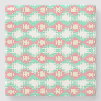 Teal Coral and White Ikat Style Pattern Stone Coaster