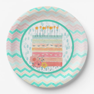 Teal & Coral Birthday Cake Party Paper Plates