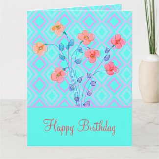 Teal Coral Flowered Birthday Greeting Card