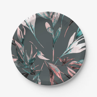 Teal Coral Watercolor Botanical Glam Wedding Party Paper Plate