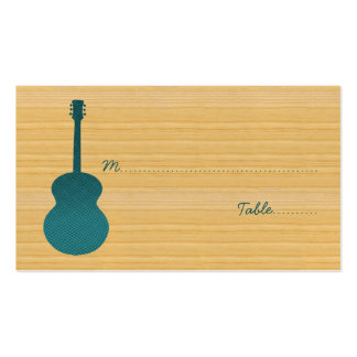 Teal Country Guitar Place Card Business Cards