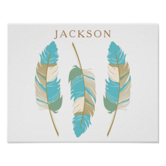 Teal, Cream and Green Feathers with DIY Name Poster