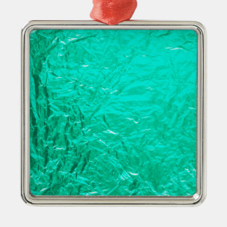 Teal Crumpled Faux Metal Foil Effect Christmas Ornament