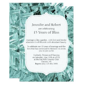 Teal Crystal 15th Anniversary Invitation