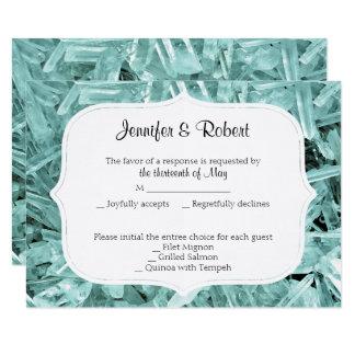 Teal Crystal 15th Anniversary Response Card 9 Cm X 13 Cm Invitation Card