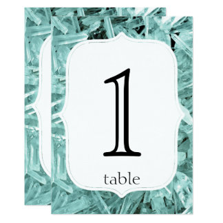 Teal Crystal 15th Anniversary Table Number 13 Cm X 18 Cm Invitation Card