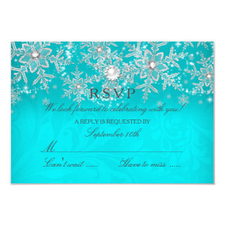 Teal Crystal Pearl Snowflake Silver Winter RSVP 9 Cm X 13 Cm Invitation Card