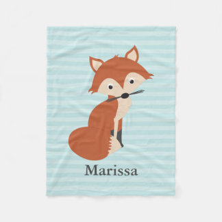 Teal Curious Fox Fleece Blanket