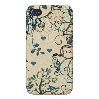 Teal Cute Birds Swirl iPhone Wood Grain Case Case For iPhone 4