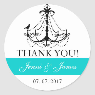 Teal Cute Chandelier Wedding Favor Thank You Round Sticker