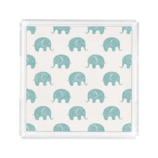 Teal Cute Elephant Pattern Acrylic Tray