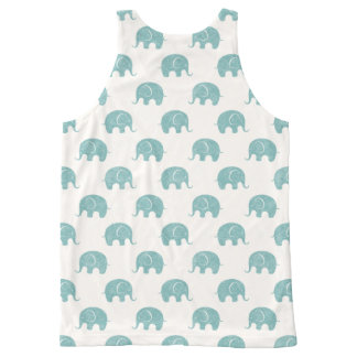 Teal Cute Elephant Pattern All-Over Print Tank Top