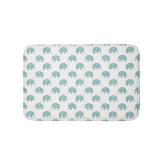 Teal Cute Elephant Pattern Bath Mat