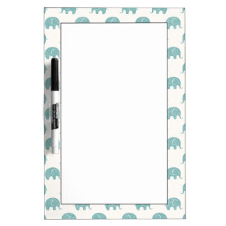 Teal Cute Elephant Pattern Dry Erase White Board