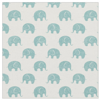 Teal Cute Elephant Pattern Fabric