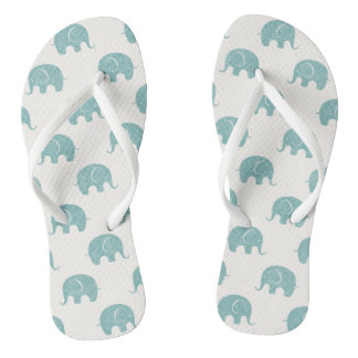 Teal Cute Elephant Pattern Flip Flops
