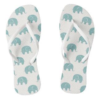 Teal Cute Elephant Pattern Flip Flops