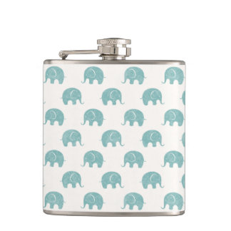 Teal Cute Elephant Pattern Hip Flask